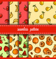 fruit and berry seamless pattern set vector image