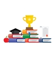 Graduation awards pedestal with cup graduate cap vector image