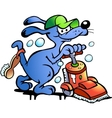 hand-drawn an dog carpet cleaner vector image vector image