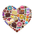 heart made of various desserts candies pastries vector image