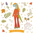 Hello autumn elegant card with cute horse vector image vector image