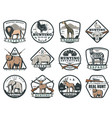 hunting sport or safari adventure icons vector image vector image