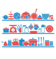 kitchen shelves with utensils for cooking vector image vector image