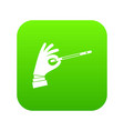 magician hand with a magic wand icon digital green vector image vector image