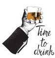 Male hand holding a glass of whiskey vector image vector image