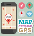 Navigator concept smart phone with icon vector image vector image
