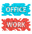 Office Work Outline Flat Concept vector image