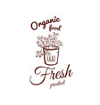 organic food monochrome emblem vector image vector image