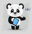 panda with a tablet in the style of the cartoon is vector image