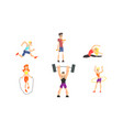 people performing various sports activities set vector image vector image