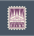 rectangular postage stamp of barcelona city with vector image