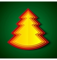 Red orange and yellow paper christmas tree vector image