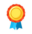 round badge with blue ribbon isolated on white vector image vector image