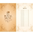 royal menu for a cafe vector image vector image