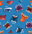 seamless pattern with color cartoon monster mouths vector image vector image