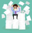 Seriously businessman because of many paper on wor vector image