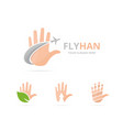 set of hand logo combination arm and travel vector image vector image