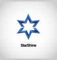 shiny blue star logo symbol icon vector image vector image