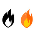 simple flame icon black and white color version vector image