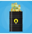 Stack of dollars and coins on oil barrel vector image