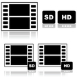 Standard and high definition movies vector image vector image
