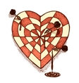 Target shaped heart with arrows emblem vector image vector image