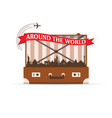 travel symbol with vintage suitcase vector image vector image