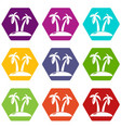 tropical island icons set 9 vector image vector image