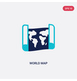 two color world map icon from education concept vector image