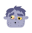 undead monster head avatar in cartoon style vector image vector image
