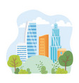 urban ecology skyscrapers town city park scene vector image