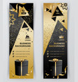 vertical luxury gold black banners ornamental vector image