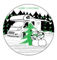 winter camper with family snowman vector image