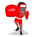 young african american boxer punching to front vector image vector image