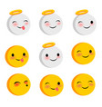 emotional positive faces angel smiles set vector image