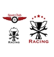 Racing and motorsport symbols or icons vector image