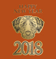 2018 happy new year of chinese horoscope greeting vector image