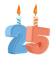 25 years birthday number with festive candle for vector image vector image