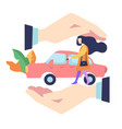 accident prevention car insurance concept woman vector image