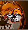 angry fox mascot logo design vector image vector image