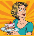 avatar portrait woman with a piece of cake vector image