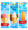 banners set for ice cream dessert shop vector image vector image