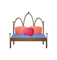 Beautiful double bed in a realistic style vector image