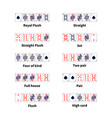 big set of all kinds of poker cards combination on vector image vector image