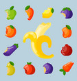 bitten fruits vitamin food and vegetable cut vector image vector image