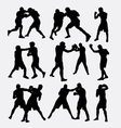 Boxing fighting silhouette vector image vector image