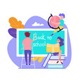 boy stand on ladder writing on blackboard back to vector image vector image