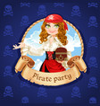 brave pirate girl with treasure chest banner vector image vector image