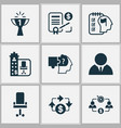 business management icons set with success office vector image