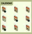calendar color outline isometric icons vector image